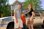 Happy Family with their Vehicle
